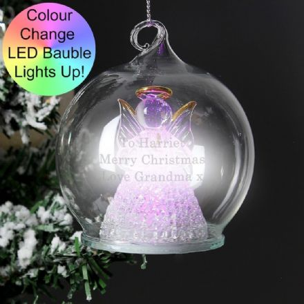 Personalised Christmas LED Angel Bauble - Message